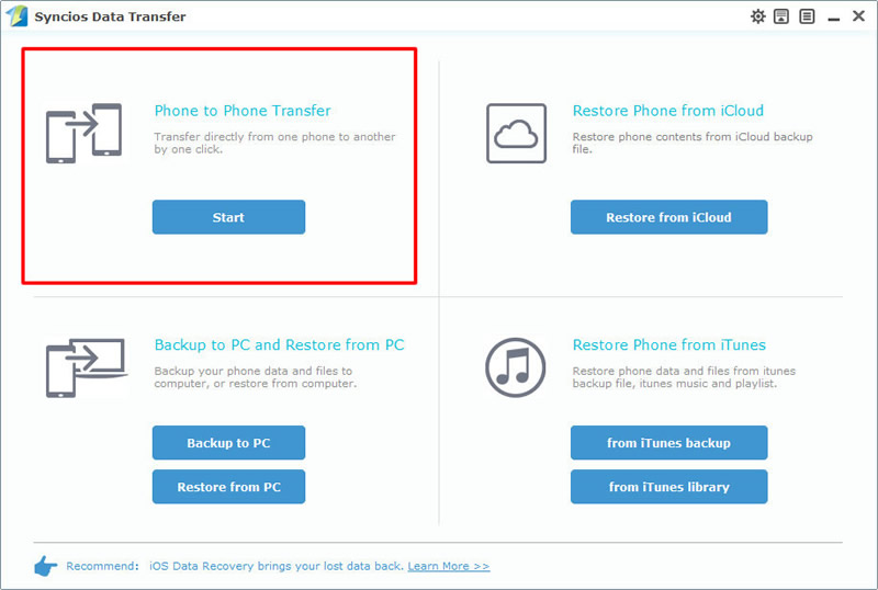 phone to phone transfer selected