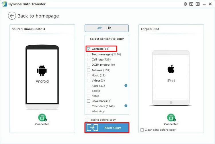 transfer android contacts to ipad directly