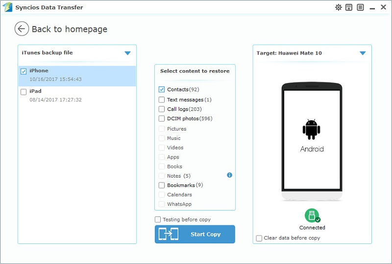 transfer contacts from iTunes backup to Huawei Mate 10/10Pro
