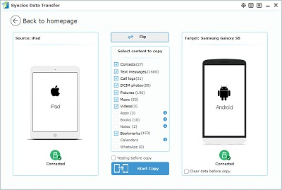 transfer data from iPad to Samsung Galaxy Preview