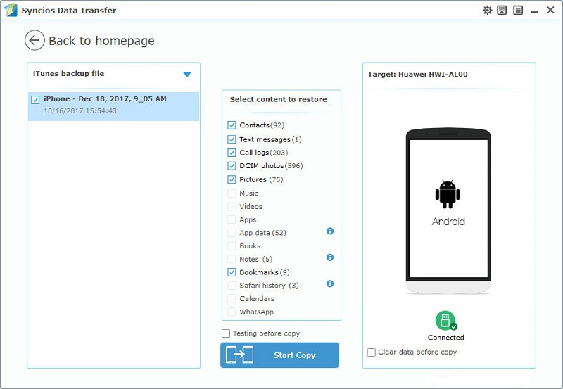 transfer iTunes backup to Android