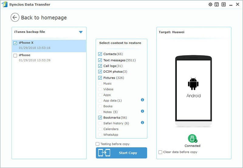 transfer photos from iTunes backup to Huawei Honor View 10