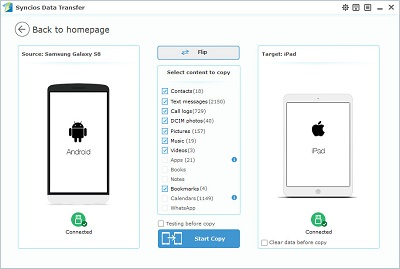 transfer data from Samsung Galaxy to iPad Preview