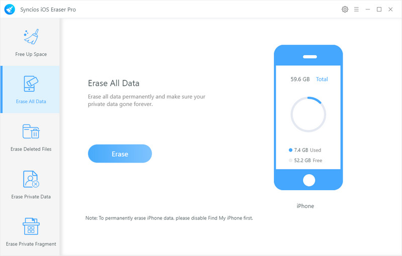 Erase all data on iphone