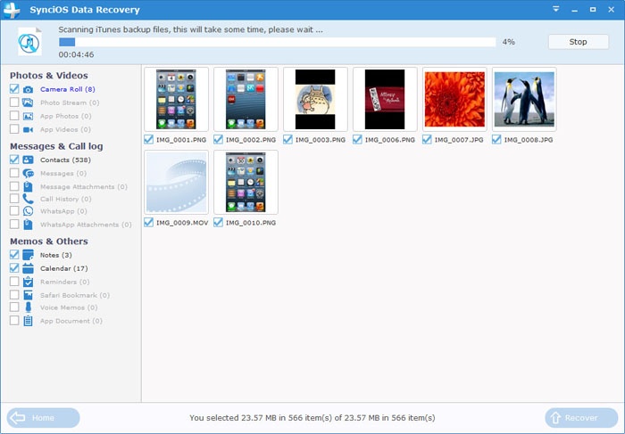 Preview contacts from iTunes Backup File