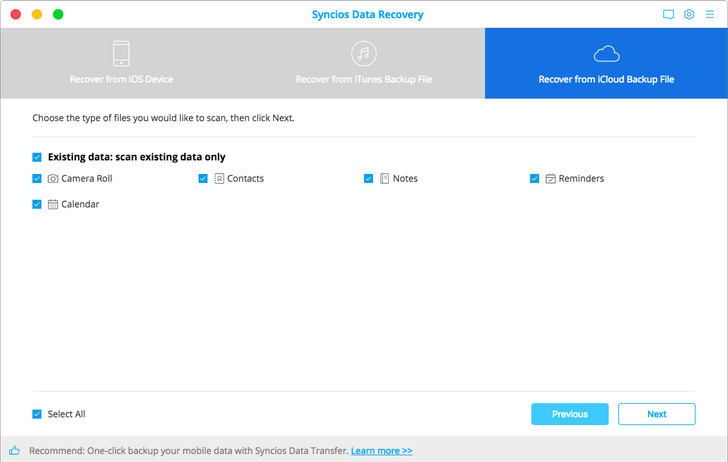 sign in to recover from iCloud