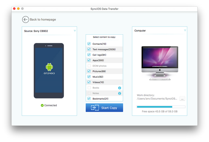 Backup android apk to mac