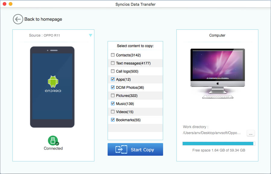 oppo r11 to mac transfer step 1