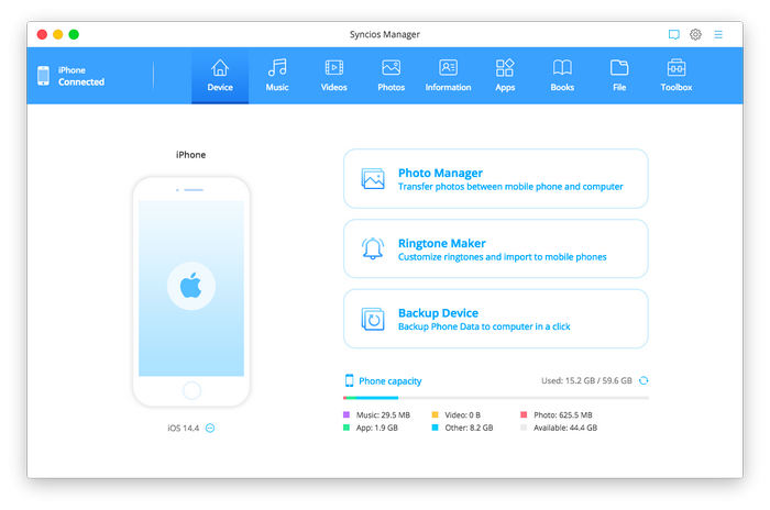 Syncios iOS Manager for mac homepage