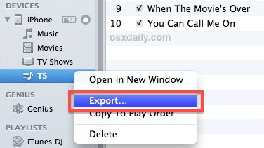 Export iPhone Playlists to PC