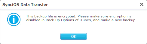 encrypted iTunes backup prompt